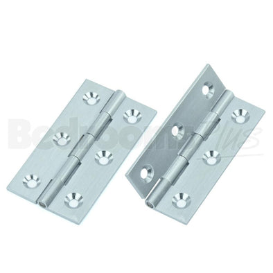 Satin Chrome Brass Interior Butt Door Hinge - Fixings Included - 2 pcs ZC4