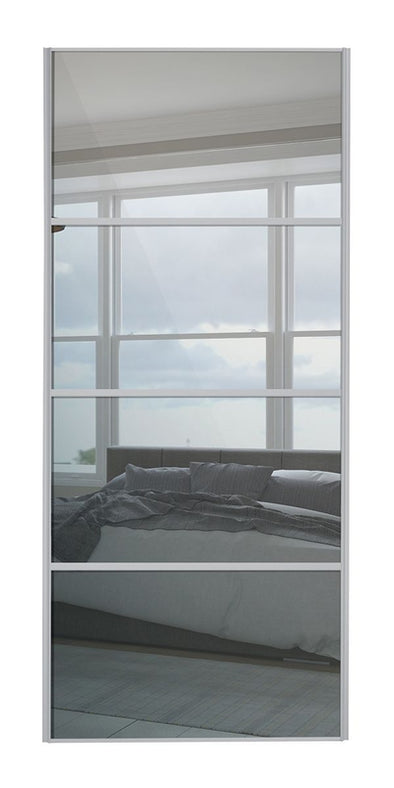 Heritage Silver Frame 4 Panel Mirror Sliding Wardrobe Door
