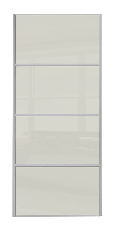 Heritage Silver Frame 4 Panel Soft White Glass Sliding Wardrobe Door