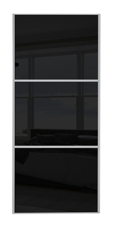 Classic Silver Frame Black/Black/Black Glass Sliding Wardrobe Door