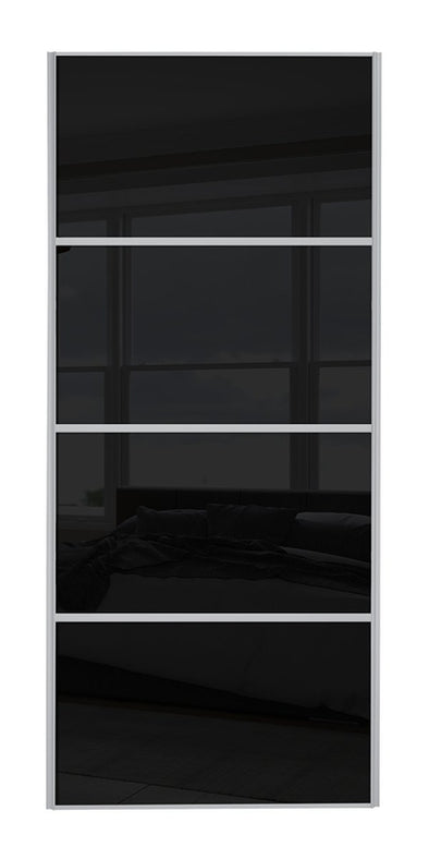 Classic Silver Frame Black Glass 4 Panel Sliding Wardrobe Door