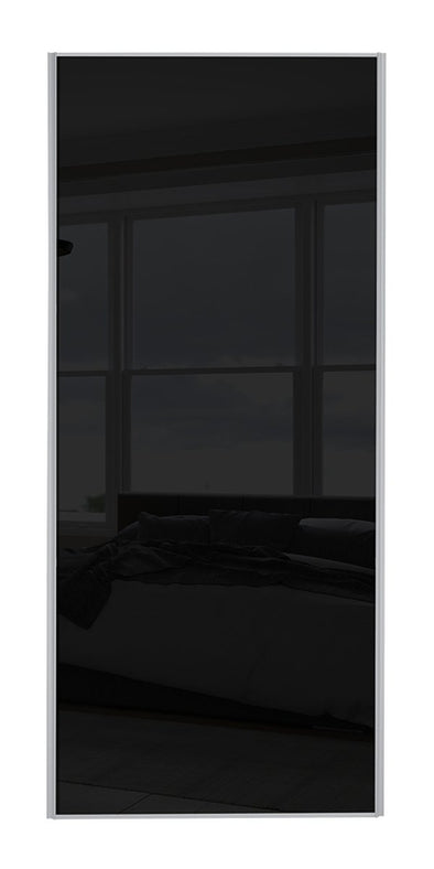 Classic Silver Frame Black Glass Sliding Wardrobe Door