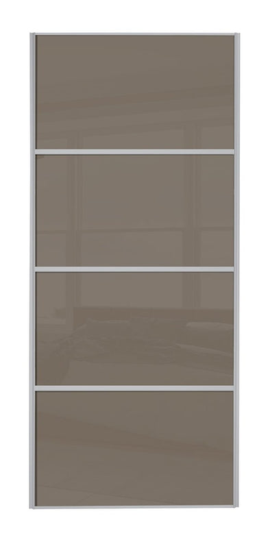 Classic Silver Frame Cappuccino Glass 4 Panel Sliding Wardrobe Door