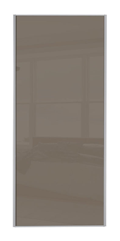 Classic Silver Frame Cappuccino Glass Mirror Sliding Wardrobe Door