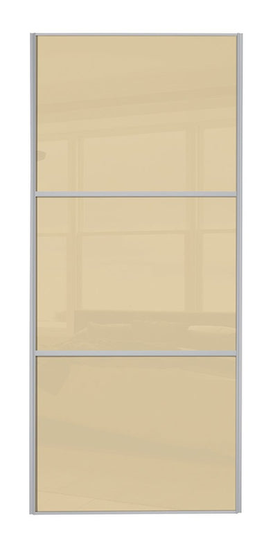 Classic Silver Frame Cream/Cream/Cream Glass Sliding Wardrobe Door