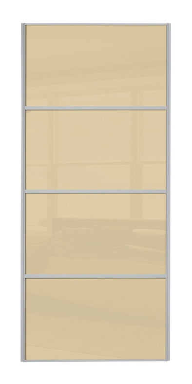 Classic Silver Frame Cream Glass 4 Panel Sliding Wardrobe Door