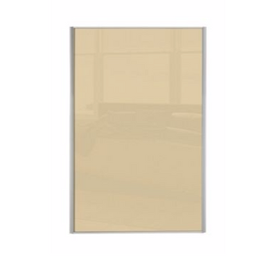 Heritage Silver Frame Cream Glass Loft / Attic Sliding Wardrobe Door