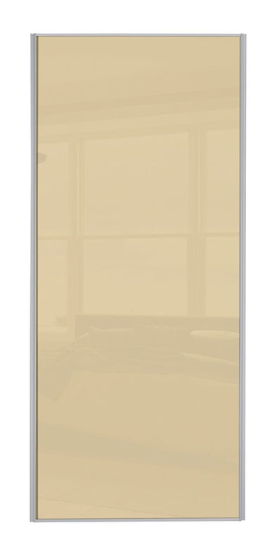 Classic Silver Frame Cream Glass Sliding Wardrobe Door