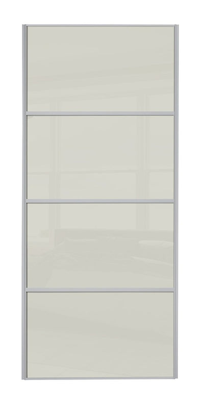 Classic Silver Frame Soft White Glass 4 Panel Sliding Wardrobe Door