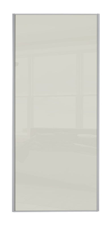 Heritage Silver Frame Soft White Glass Sliding Wardrobe Door