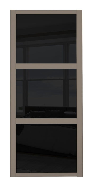 Shaker Stone Grey 3 Panel Black Glass Sliding Door