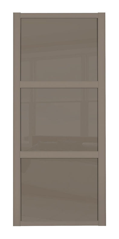 Shaker Stone Grey 3 Panel Cappuccino Glass Sliding Door