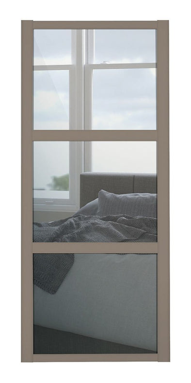 Shaker Stone Grey 3 Panel Mirror Sliding Door