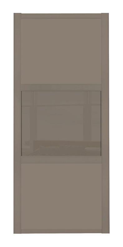 Shaker Stone Grey 3 Panel Stone Grey & Cappuccino Glass Sliding Door