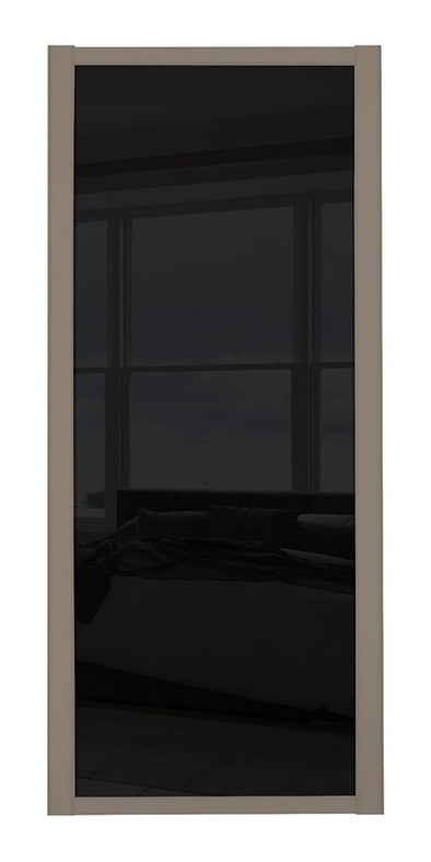 Shaker Stone Grey Frame Black Glass Sliding Wardrobe Door