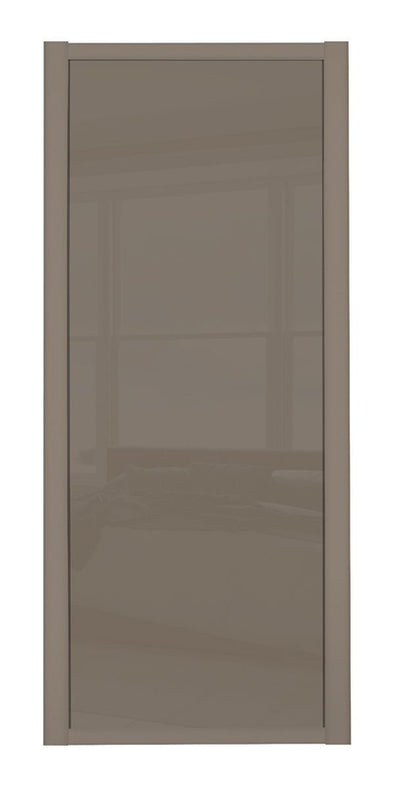 Shaker Stone Grey Frame Cappuccino Glass Sliding Wardrobe Door