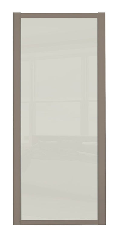 Shaker Stone Grey Frame Soft White Glass Sliding Wardrobe Door