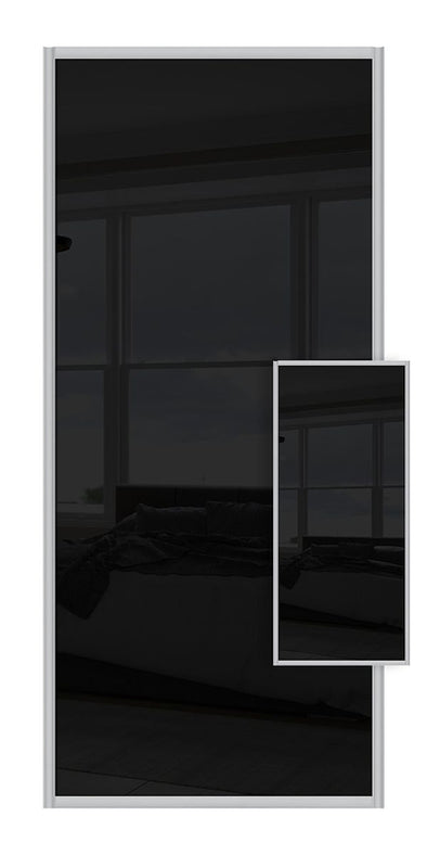 Switch Double Sided Sliding Wardrobe Door - Black Glass & Black Glass