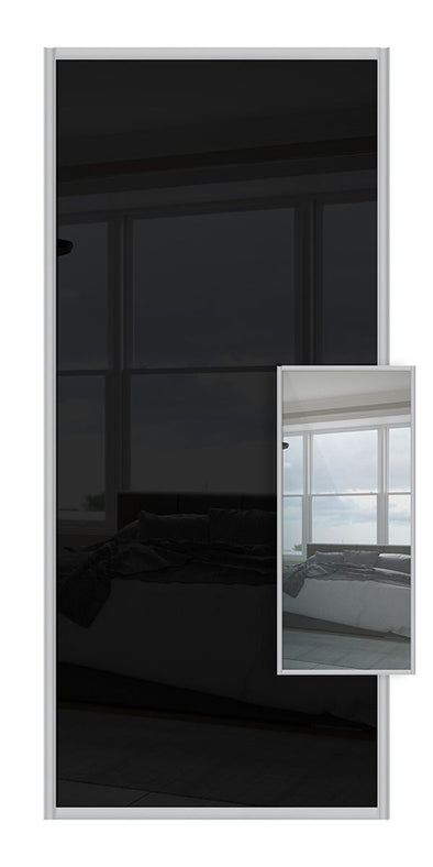Switch Double Sided Sliding Wardrobe Door - Black Glass & Mirror
