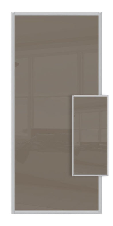 Switch Double Sided Sliding Wardrobe Door - Cappuccino & Cappuccino Glass