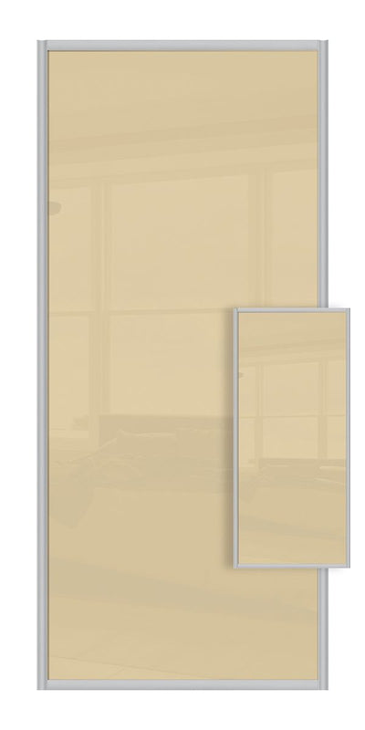 Switch Double Sided Sliding Wardrobe Door - Cream Glass & Cream Glass