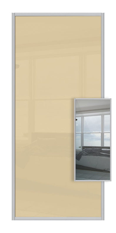 Switch Double Sided Sliding Wardrobe Door - Cream Glass & Mirror