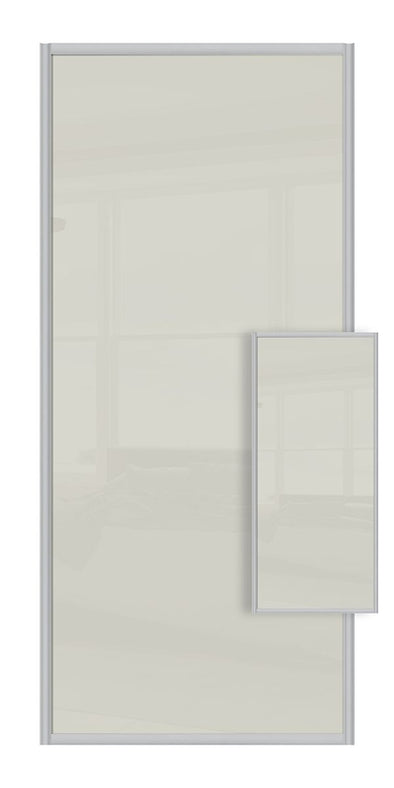 Switch Double Sided Sliding Wardrobe Door - Soft White Glass & Soft White Glass