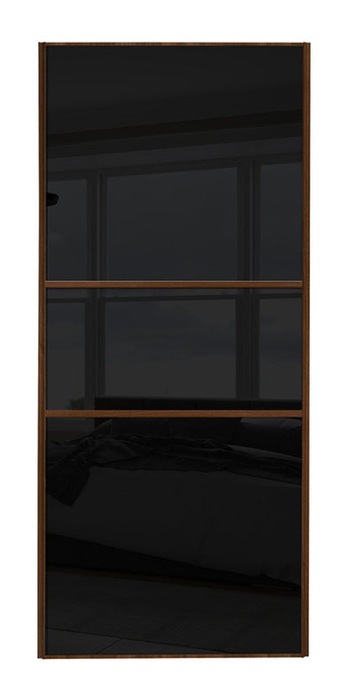 Classic Walnut Frame Black/Black/Black Glass Panel Sliding Wardrobe Door