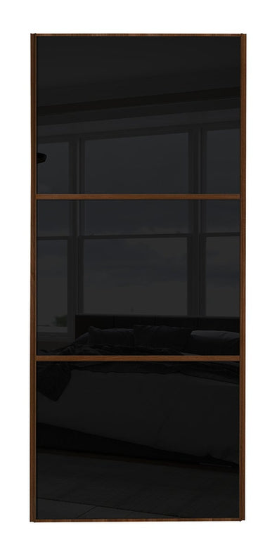 Classic Walnut Frame Black/Black/Black Glass Sliding Wardrobe Door