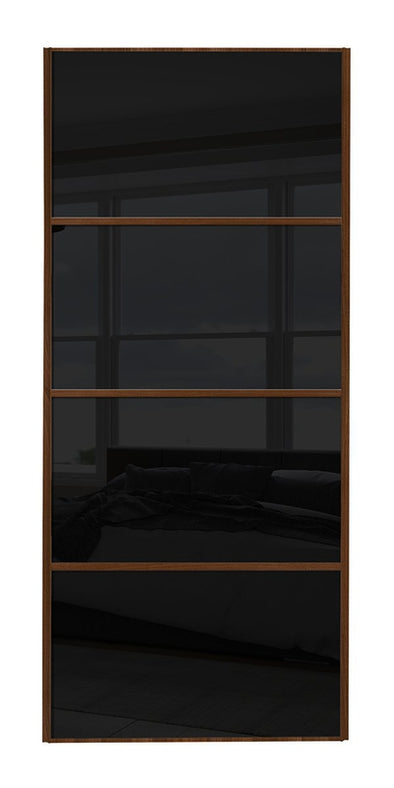 Classic Walnut Frame Black Glass 4 Panel Sliding Wardrobe Door
