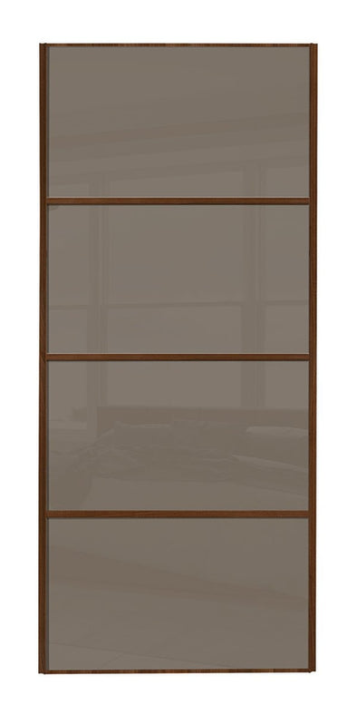 Classic Walnut Frame Cappuccino Glass 4 Panel Sliding Wardrobe Door