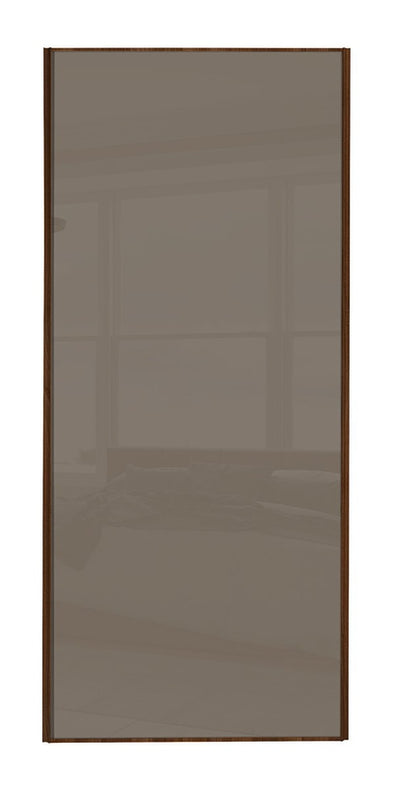 Classic Walnut Frame Cappuccino Glass Sliding Wardrobe Door