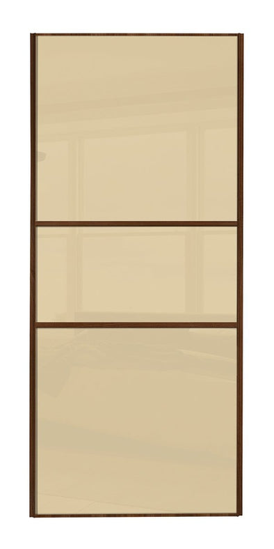 Classic Walnut Frame Cream/Cream/Cream Glass Panel Sliding Wardrobe Door