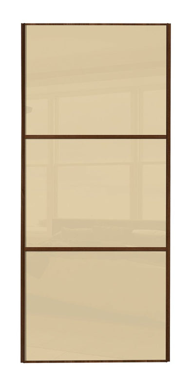 Classic Walnut Frame Cream/Cream/Cream Glass Sliding Wardrobe Door