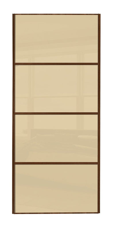 Classic Walnut Frame Cream Glass 4 Panel Sliding Wardrobe Door