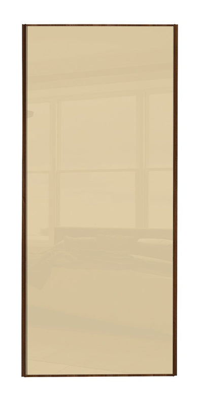 Classic Walnut Frame Cream Glass Sliding Wardrobe Door