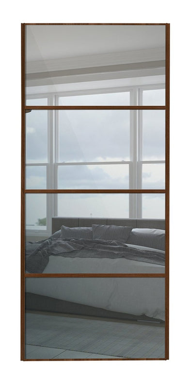 Classic Walnut Frame Mirror 4 Panel Sliding Wardrobe Door