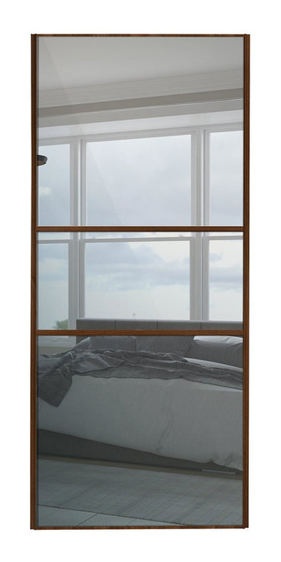 Classic Walnut Frame Mirror/Mirror/Mirror Glass Panel Sliding Wardrobe Door