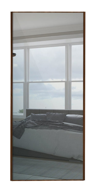 Classic Walnut Frame Mirror Sliding Wardrobe Door