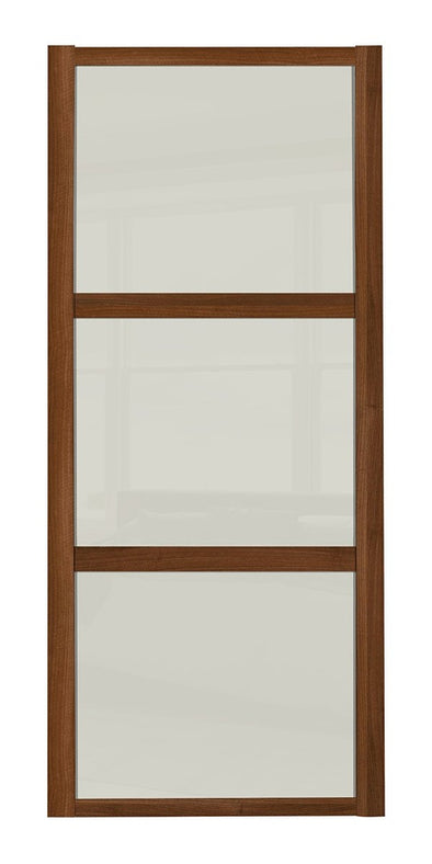 Shaker Walnut Frame Soft White Glass 3 Panel Shaker Sliding Wardrobe Door