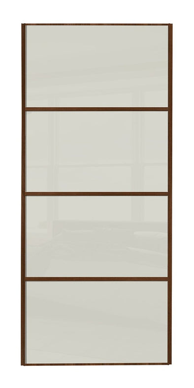 Classic Walnut Frame Soft White Glass 4 Panel Sliding Wardrobe Door