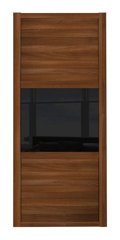 Shaker Walnut Frame Walnut/Black Glass/Walnut 3 Panel Shaker Sliding Wardrobe Door