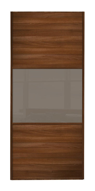 Classic Walnut Frame Walnut/Cappuccino/Walnut Sliding Wardrobe Door