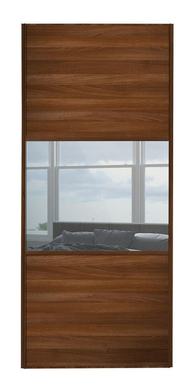 Classic Walnut Frame Walnut/Mirror/Walnut Sliding Wardrobe Door