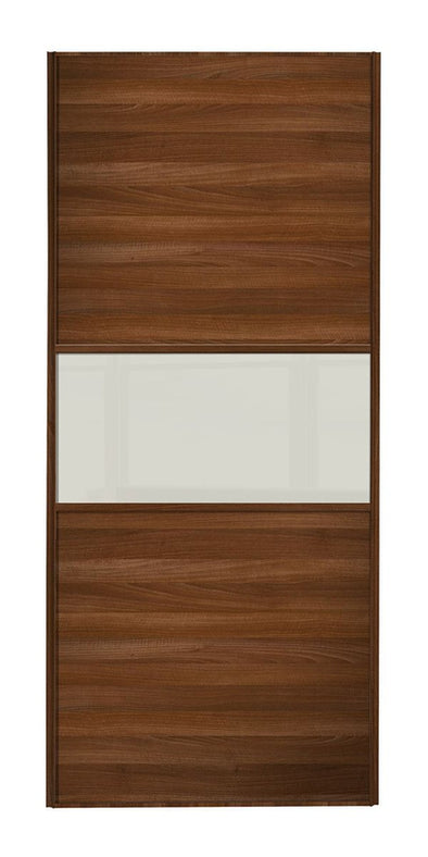 Classic Walnut Frame Walnut/Soft White Glass/Walnut Panel Sliding Wardrobe Door