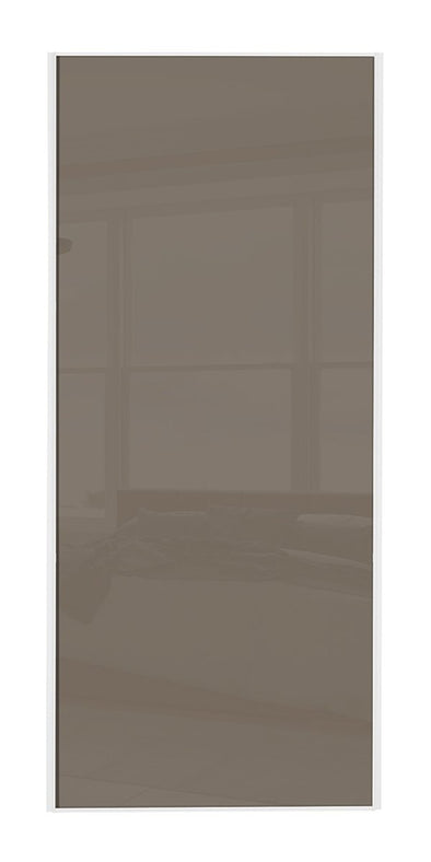 Classic White Frame Cappuccino Glass Sliding Wardrobe Door