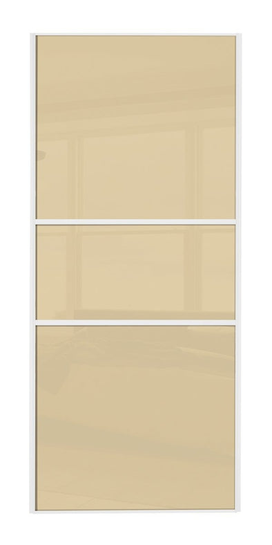 Classic White Frame Cream/Cream/Cream Glass Sliding Wardrobe Door