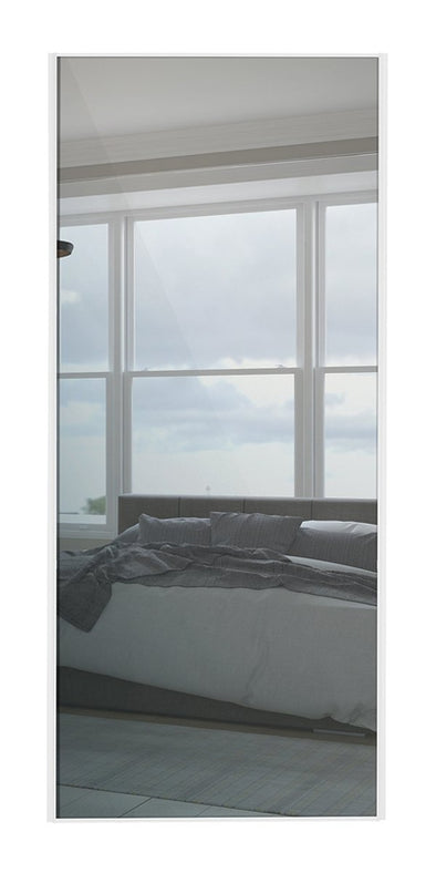 Classic White Frame Mirror Sliding Wardrobe Door
