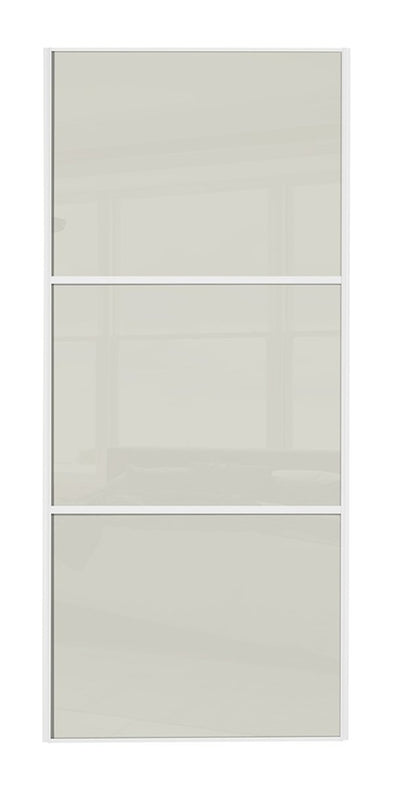 Classic White Frame Soft White/Soft White/Soft White Glass Sliding Wardrobe Door