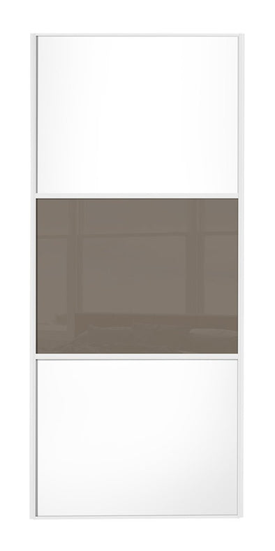 Classic White Frame White Panel/Cappuccino Glass/White Panel Sliding Wardrobe Door